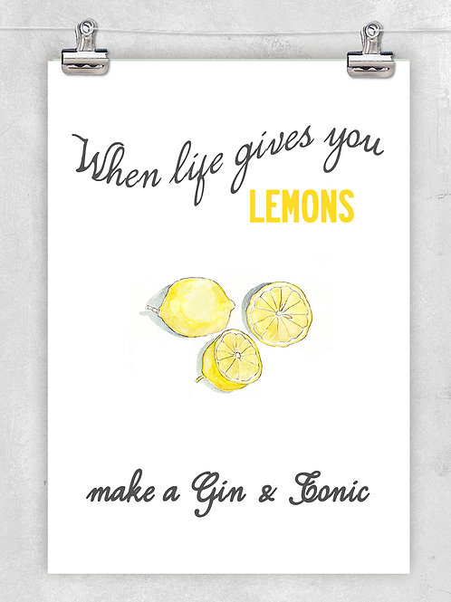 A QUIRKY AND FRESH LEMON ILLUSTRATION WITH GIN QUOTE. FINE ART PRINT OR CANVAS