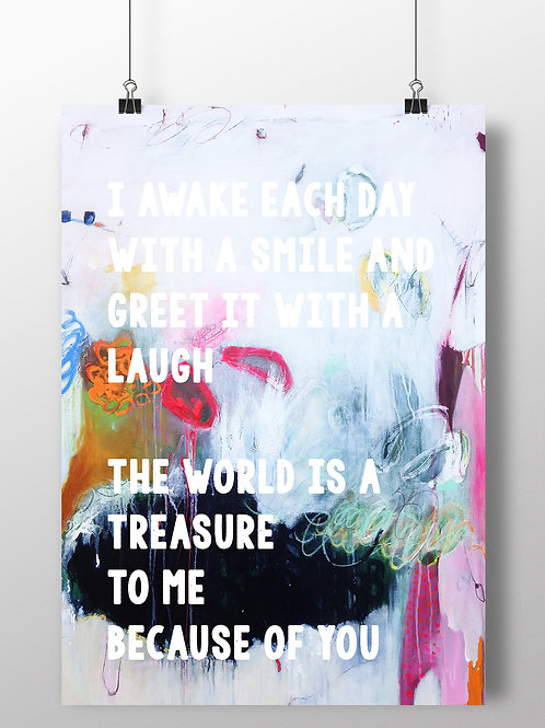LOVE QUOTE ON AN ORIGINAL PAINTING BACKGROUND. FINE ART PRINT OR CANVAS