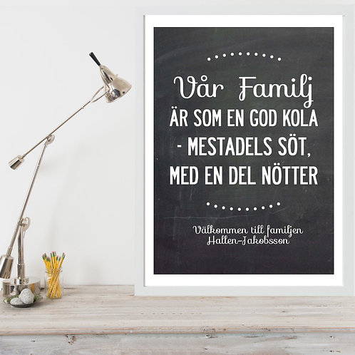 """FAMILIES ARE LIKE..."" - SWEDISH TEXT, PERSONALISED POSTER OR CANVAS PRINT"