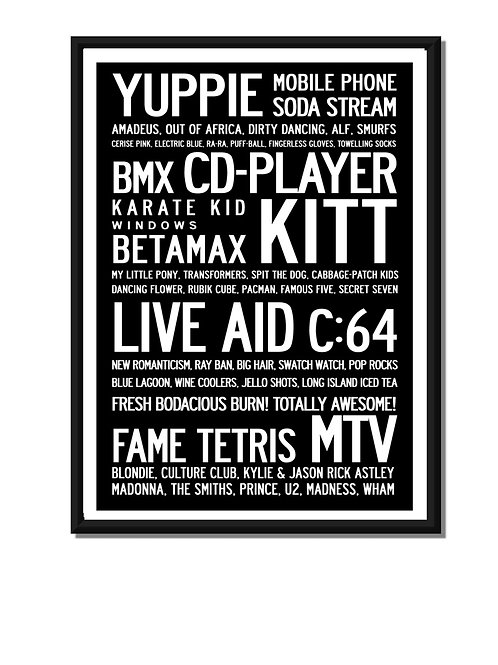 KNOW YOUR 80'S? English POSTER OR CANVAS PRINT.