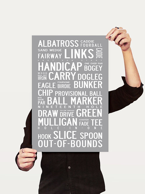 GOLF - TYPOGRAPHIC POSTER OR CANVAS PRINT.