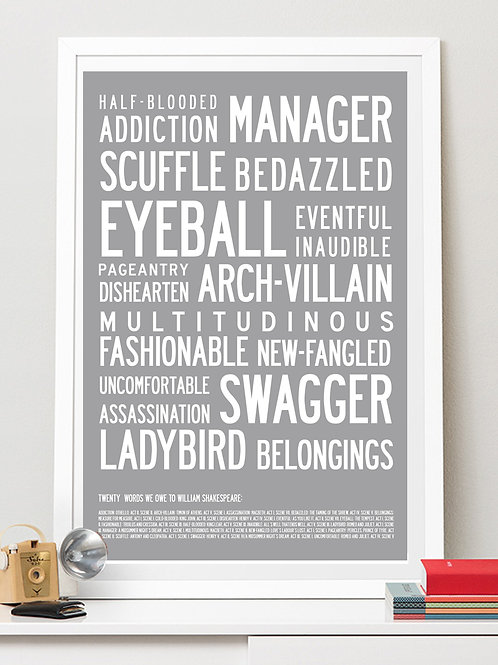 20 WORDS WE OWE TO SHAKESPEARE. PRINT OR CANVAS