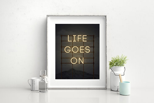 """Vintage print """"Life Goes On"""" - poster or canvas print."""