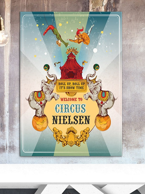 CIRCUS PRINT VINTAGE STYLE - WITH YOUR NAME. POSTER OR CANVAS