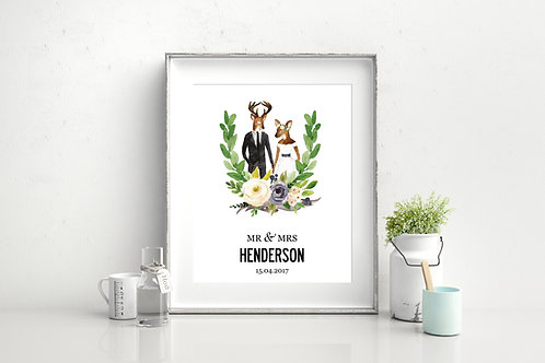 ILLUSTRATED PERSONALISED WEDDING PRINT - ANTLERS, 3 SIZES AS POSTER OR CANVAS