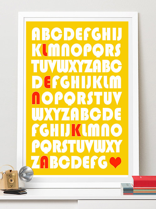 ALPHABET NAME / WORD - PERSONALISED DESIGN AS POSTER OR CANVAS