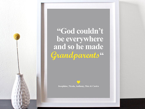FOR ALL GRANDPARENTS PERSONALISED NAME QUOTE PRINT.