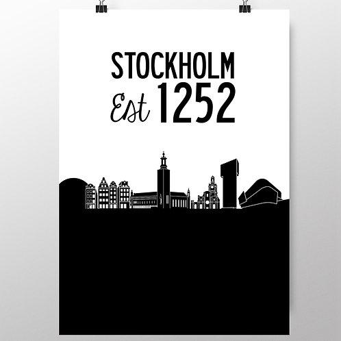 STOCKHOLM EST - STYLISH MONOCHROME DESIGN. POSTER OR CANVAS PRINT