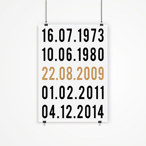 DATES - YOUR SPECIAL DATES, PERSONALISED POSTER OR CANVAS