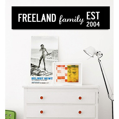"""""""FAMILY EST"""" - PERSONALISED FAMILY NAME AND YEAR CANVAS. 3 SIZES"""