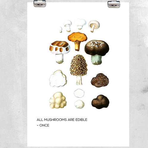 VINTAGE MUSHROOM KITCHEN ILLUSTRATION WITH QUOTE - ART PRINT OR CANVAS