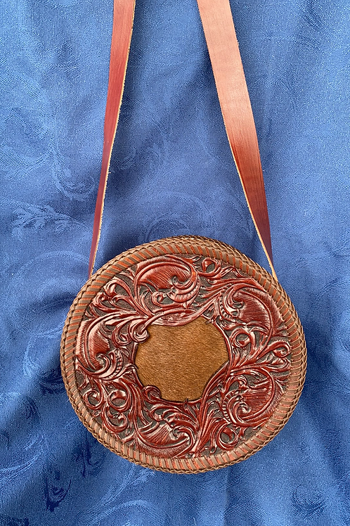 Round Bag With Cowhide