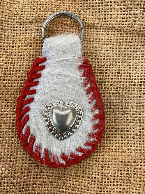 Cowhide Keyring - Heart