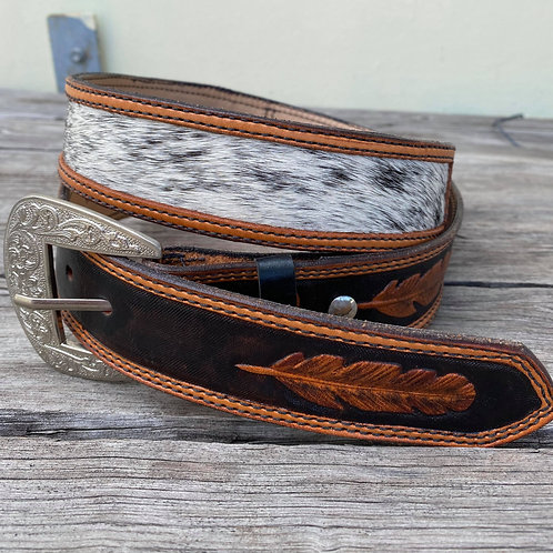 Cowhide and Feathers Belt