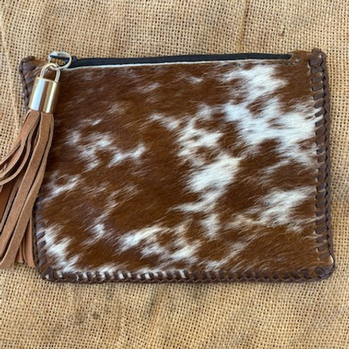 Hair-on-Hide Clutch Bag - Brown
