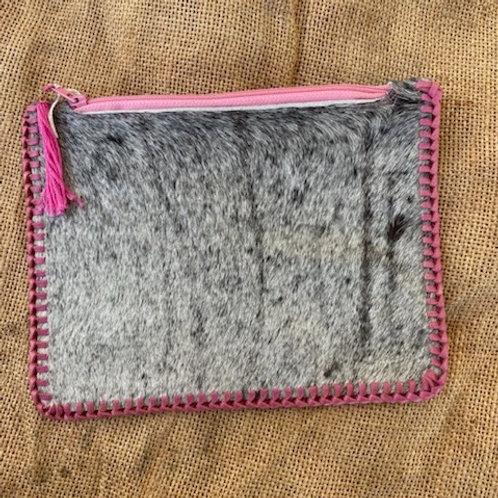 Hair on Hide Clutch Bag - Pink