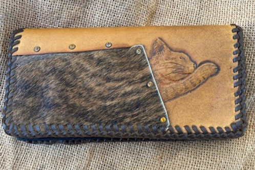 Tooled Wallet - Cat with Cowhide