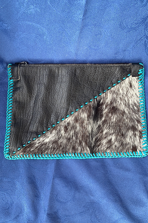 Leather and Hide Clutch - Turquoise