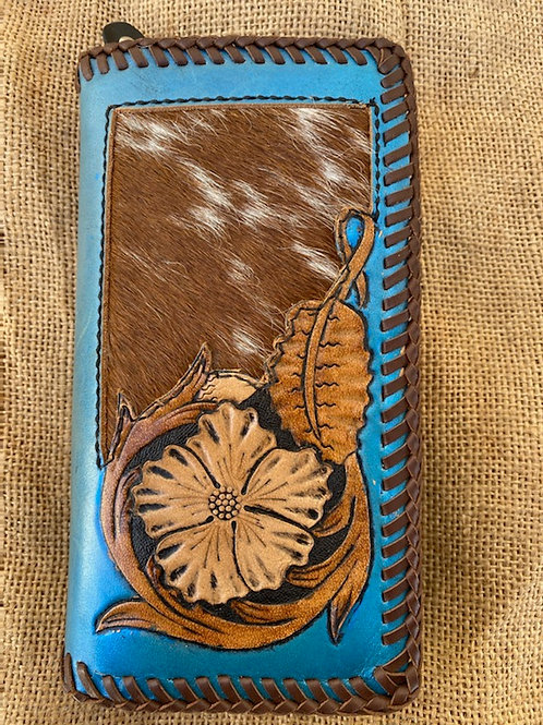Tooled Wallet with Hide Inlay