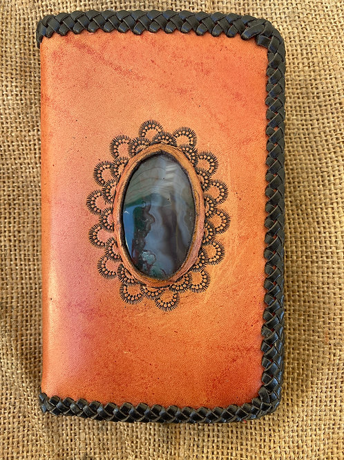 Tooled Wallet with Stone Inlay