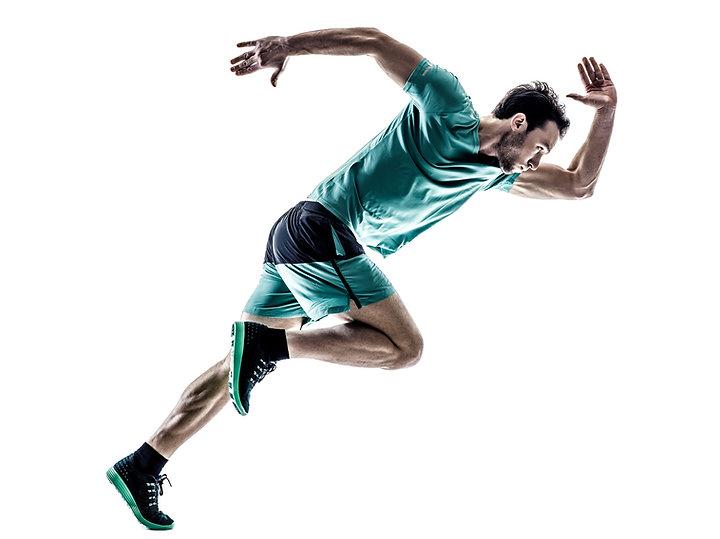 Man in a running position