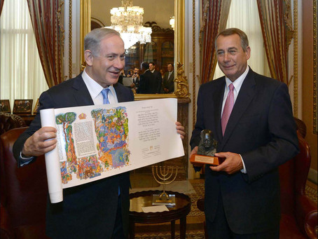 Benjamin Netanyahu presents US House Speaker with an illuminated Scroll of the Book of Esther