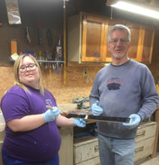 Dale and Darby doing some staining