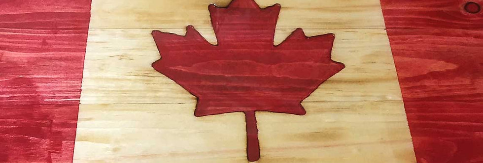 Carved Canadian Flag