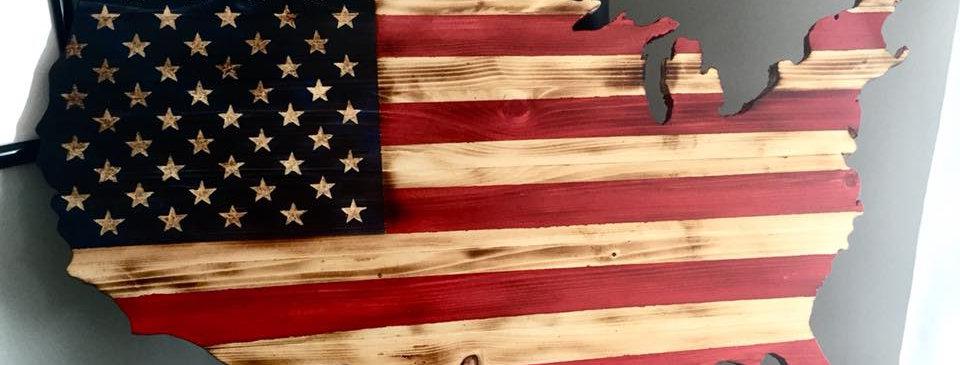 Rustic American Cutout Flag