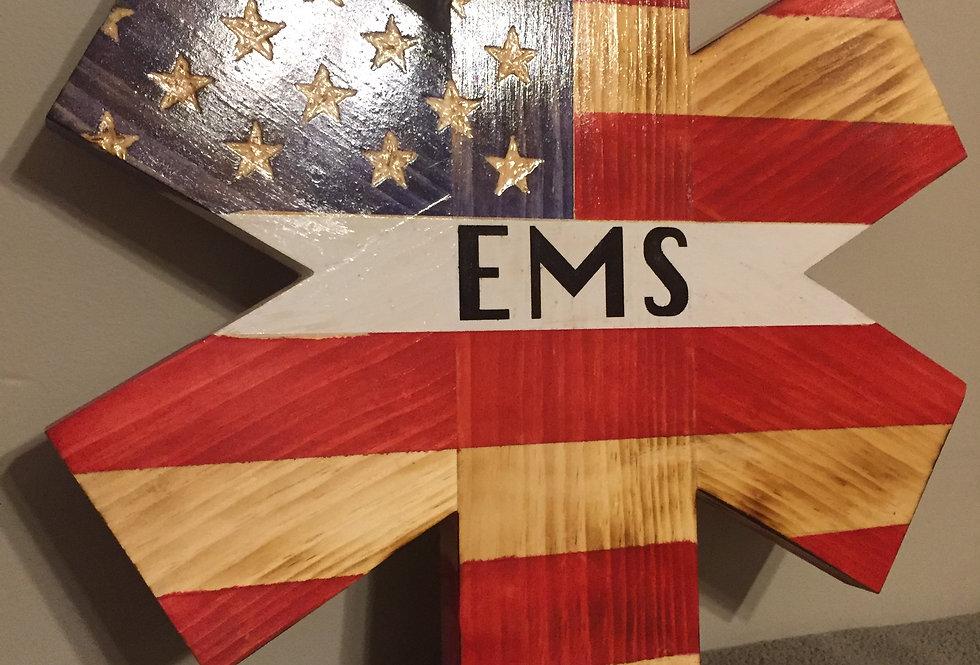 Rustic EMS Flag