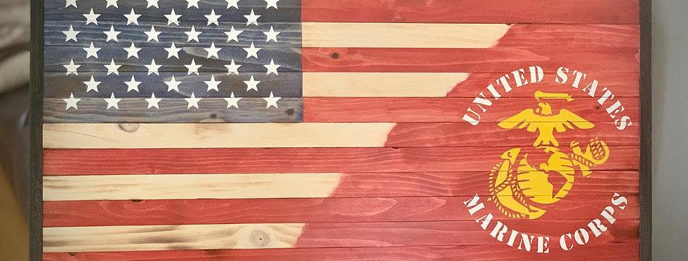 Rustic US Marine Flag