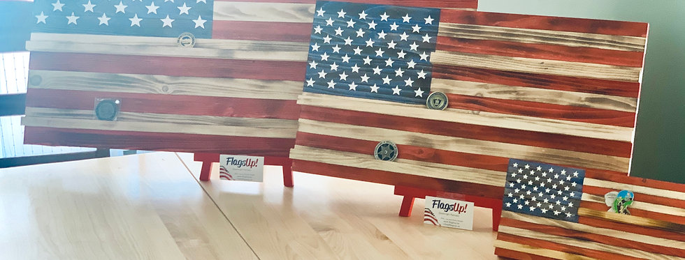 Challenge Coin Display Rack-Holder.  Rustic American Flag
