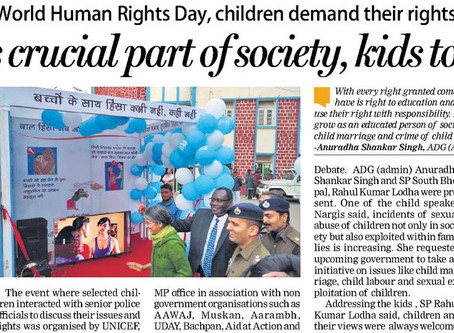 On the occasion of World Human Rights Day, children Demand their rights as citizens.