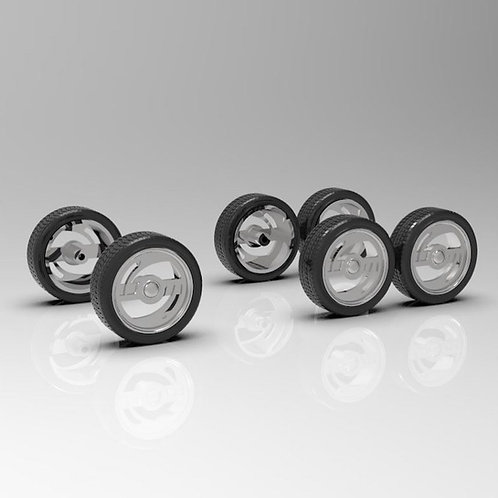 "1:25 ""Insanity"" mini truck wheels with tires"