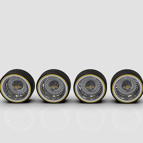"1:64 ""Deep Dish Wire Wheels on Low-Pro Vogues (20"" or 24"" Option)"