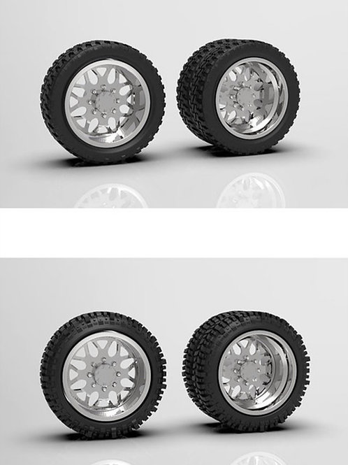 "1:16 ""Shred"" Forged Dually Wheels with Standard or Bogger Tires"