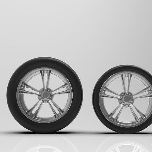 "1:25 ""AR 500"" 20"" wheel and tire setup.  8.5"" and 12"" depth"