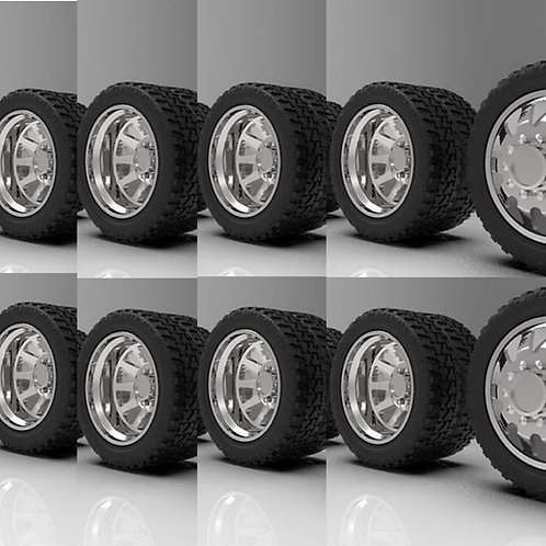 "1:25 26 inch ""Razor"" Semi Truck Dually wheels and tires (2 fronts 8 rears)"