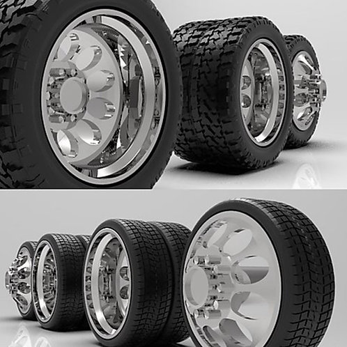 """1:18 """"Crater"""" Dually wheels with Standard or Low-Profile Tires"""