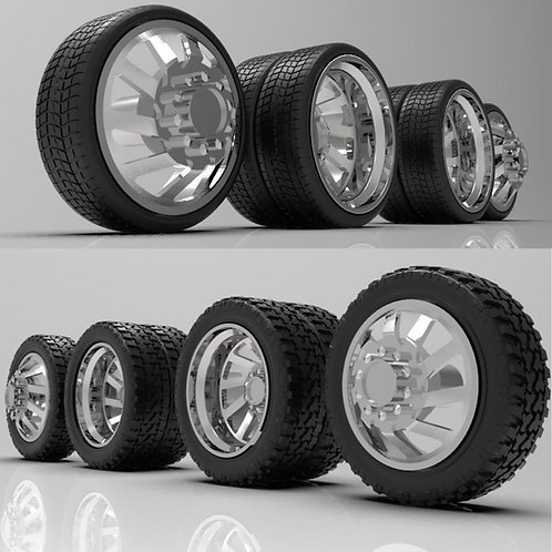 "1:25 ""Cyclone"" Dually Wheels with Tires"