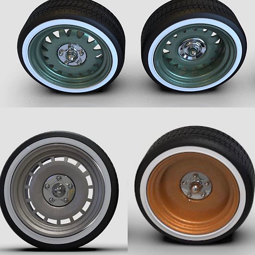 """1:25 24"""" Smooth, Slot, Artillery wheel set with whitewalls tires"""