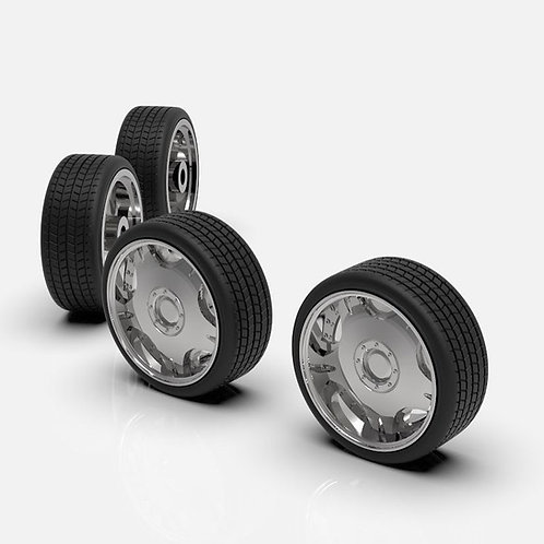 """1:25 LDR 19"""" staggered wheel and tires (Chrome)"""