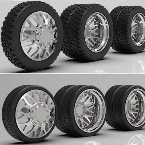 "1:25 26"" Semi Truck ""Nitro""Dually Wheels In Low Profile Tires (2 Fronts 4 Rears)"