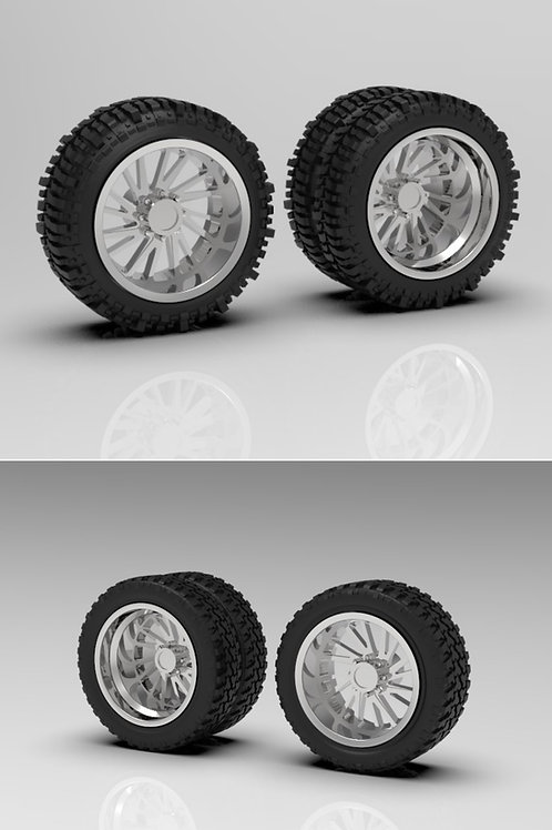 """1:24 26"""" """"Brute"""" Forged Wheels with Dually """"Standard""""or """"Bogger"""" Tires"""