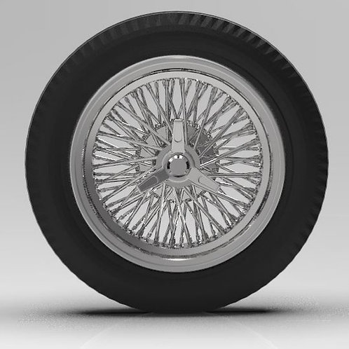 "1:25 19"" Wire wheels on big and little vintage tires"