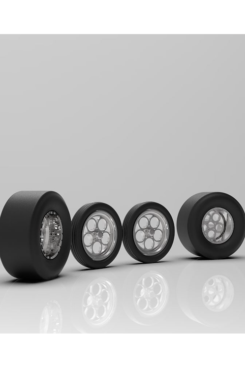 "1:25 Weld ""Magnum""Dragster Wheels with Thick and Thin Tires"