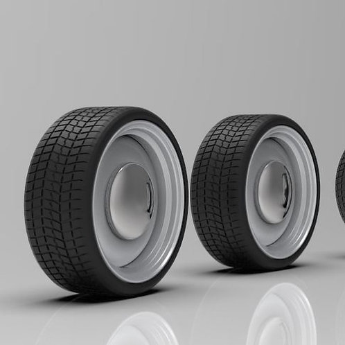 """1:64 20"""" Steel Smoothie wheels with a low profile tire"""