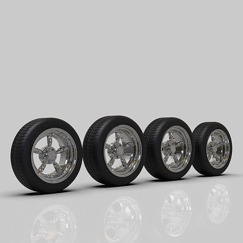 "1:20 Coke Bottle spoke wheels 19"" with big and little tires"