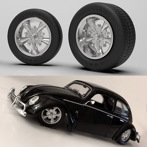 1:24 Five Spoke Dub Wheels with Tires