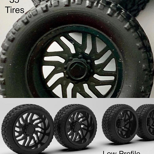 "1:25 22s ""Titan"" Wheels in Black and 35"" or Low Profile tires (Black or Chromed)"